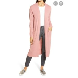 Halogen cashmere blend long duster cardigan